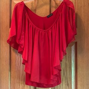 Venus cold shoulder red ruffle shirt